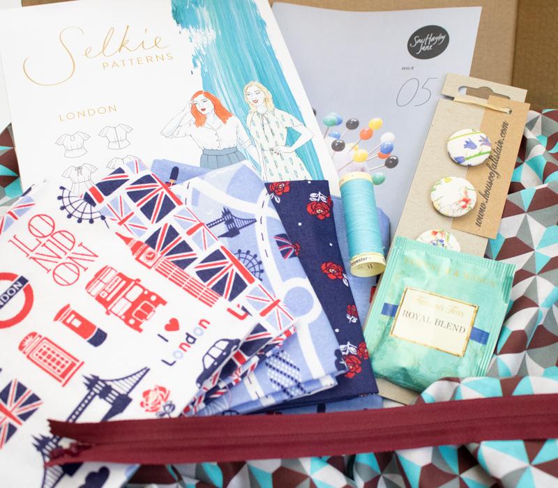 A beautiful box of fabrics and assorted haberdashery items.